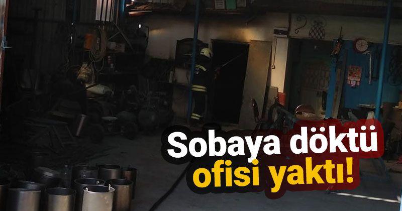 Sobaya dökülen yanıcı madde ofisi yaktı: 1 yaralı