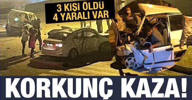 Antalya'da otomobiller çarpıştı: 3 ölü 4 yaralı