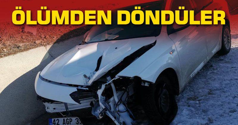 Tekeri patlayan otomobildeki 4 kişi ölümden döndü