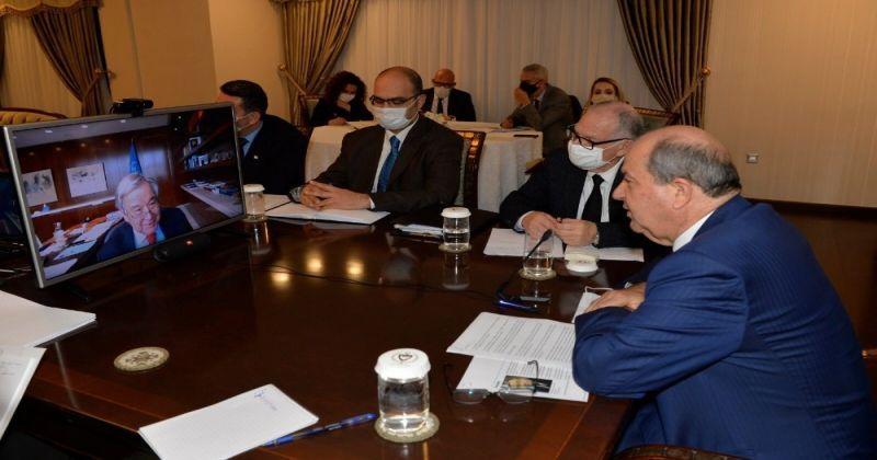 KKTC Cumhurbaşkanı Tatar, BM Genel Sekreteri Guterres ile telekonferans görüşmesi yaptı