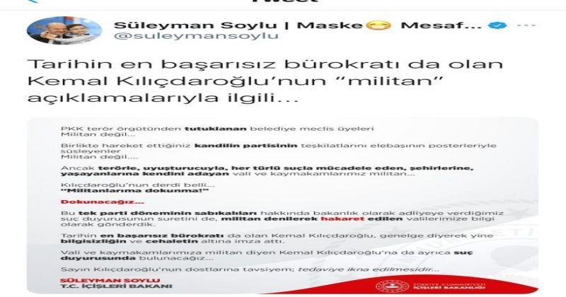 Bakan Soylu'dan Kılıçdaroğlu'na sert tepki