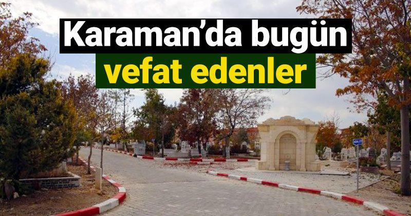27 Ocak Karaman'da vefat edenler