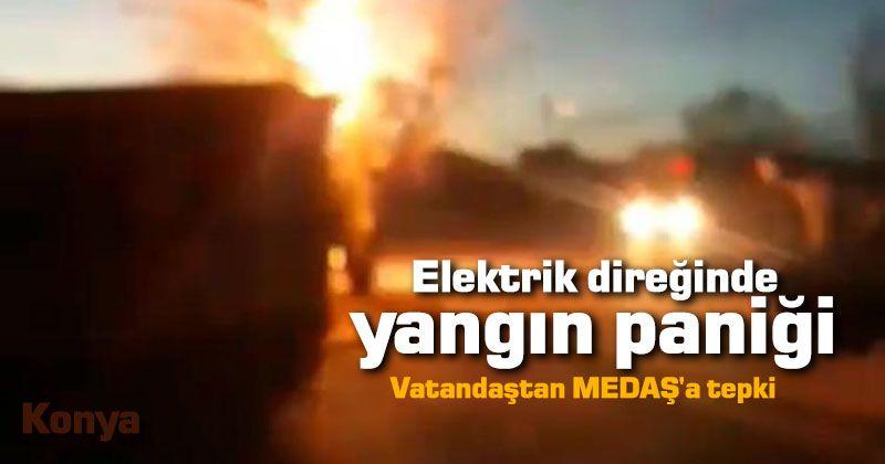 Elektrik direğinde yangın paniği