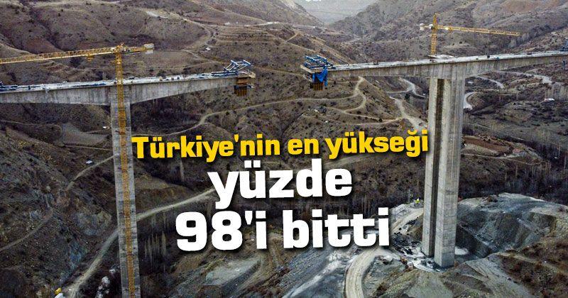 """Türkiye'nin """"en yüksek"""" ayaklı viyadüğünde çalışmalar sürüyor"""