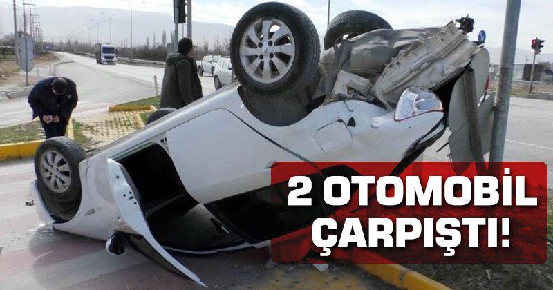 Çarpışan otomobillerden biri takla attı: 1 yaralı