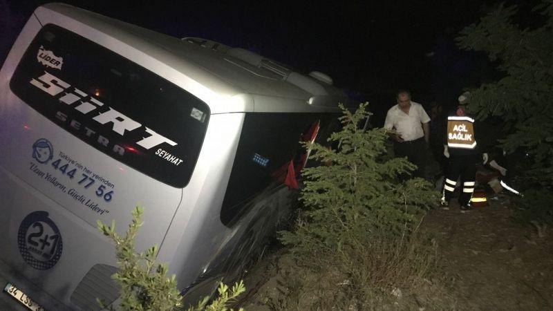 Niğde'de yolcu otobüsü devrildi: 1 ölü, 10 yaralı