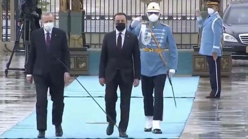 Erdoğan, Gürcistan Başbakanı Garibashvili'yi resmi törenle karşıladı