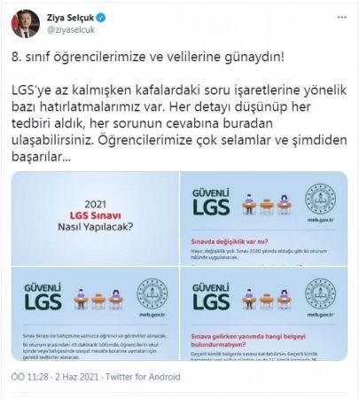Bakan Selçuk'tan 'LGS' açıklaması