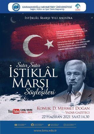 """KMÜ'de """"Satır Satır İstiklal Marşı Söyleşileri"""" Düzenlenecek"""