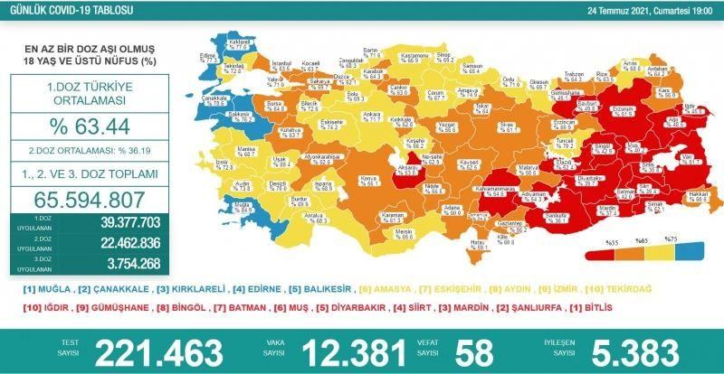 24 Temmuz koronavirüs tablosu! Vaka Sayılarında Son Durum
