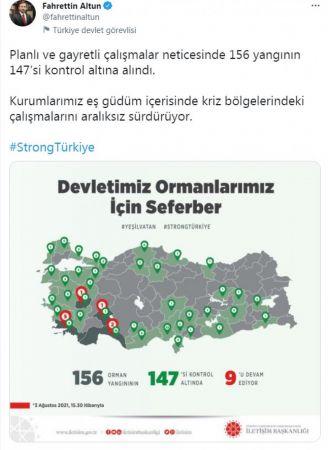 İletişim Başkanı Altun: 147 yangın kontrol altına alındı