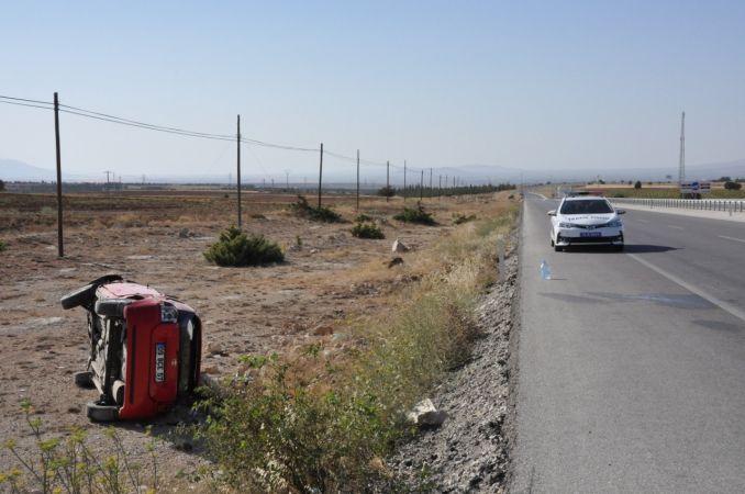 Karaman'da kaza! Şarampole takla attı...