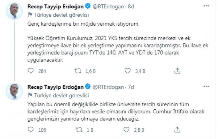 Erdoğan açıkladı... YKS'de baraj puanları düşürüldü mü?