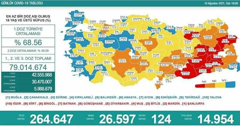 10 Ağustos Koronavirüs tablosu! Vaka sayılarında son durum