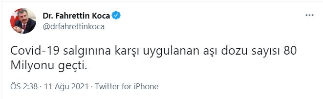 Türkiye'de 80 milyondan fazla aşı yapıldı