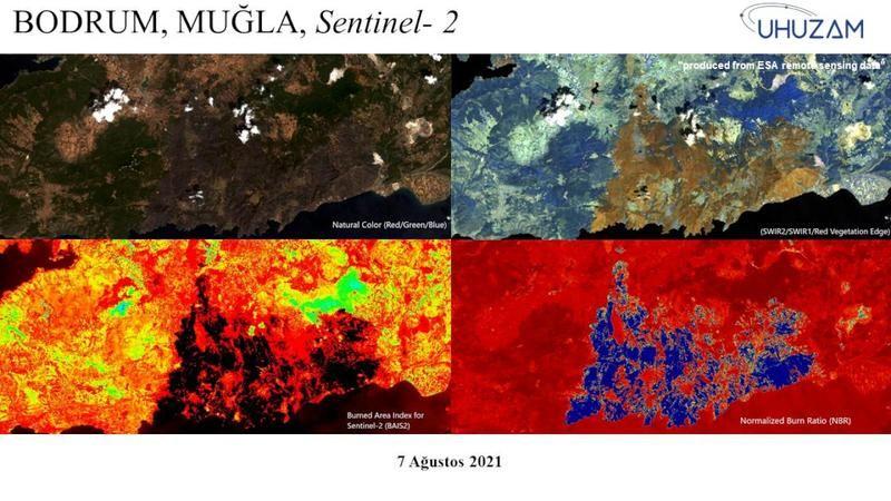 Yanan 85 bin futbol sahası büyüklüğündeki alan uzaydan görüntülendi