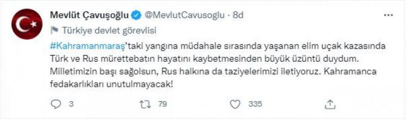 Bakan Çavuşoğlu'ndan, Türk ve Rus mürettebat için taziye mesajı