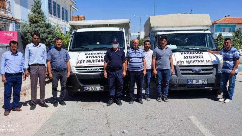 Karaman'dan Manavgat'a küçükbaş hayvan ile nakit para desteği