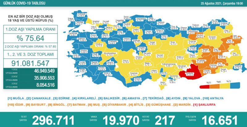 25 Ağustos koronavirüs tablosu! Vaka Sayılarında Son Durum