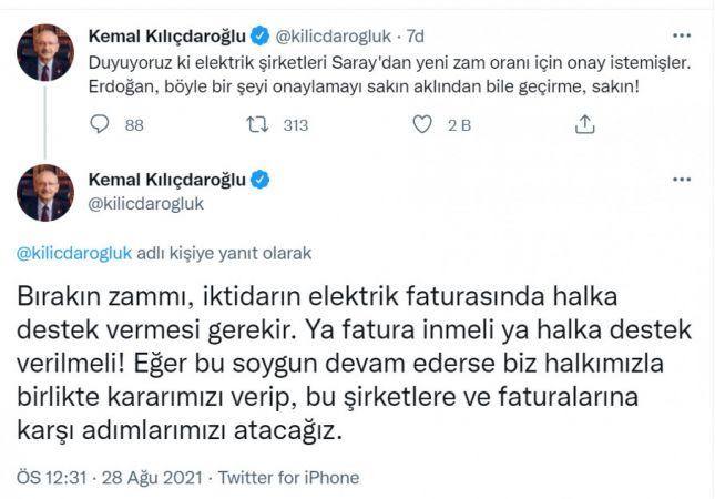 Kılıçdaroğlu: Ya fatura inmeli ya halka destek verilmeli