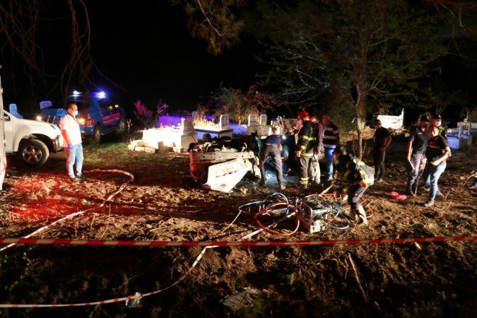 Osmaniye'de takla atarak alev alan otomobilin sürücüsü yanarak yaşamını yitirdi