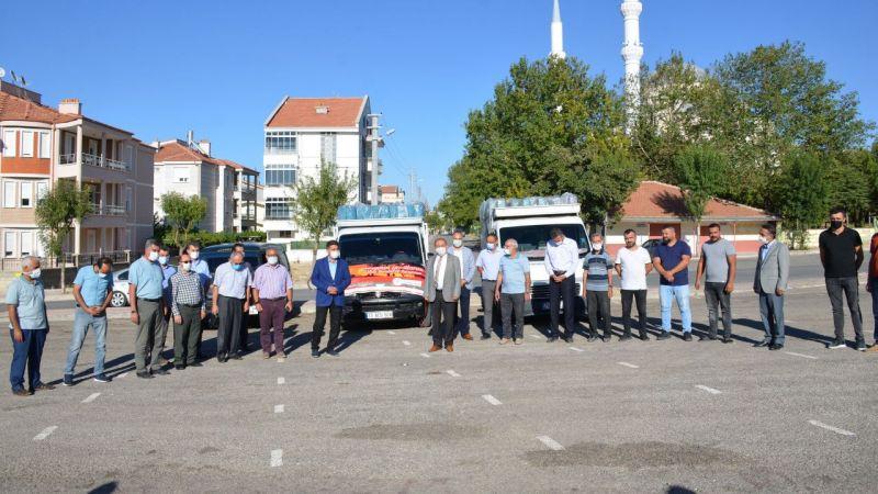 Karaman'dan Manavgat'a üç yardım kamyoneti gönderildi