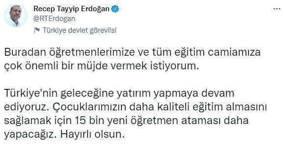 Cumhurbaşkanı Erdoğan duyurdu! Öğretmenlere atama müjdesi