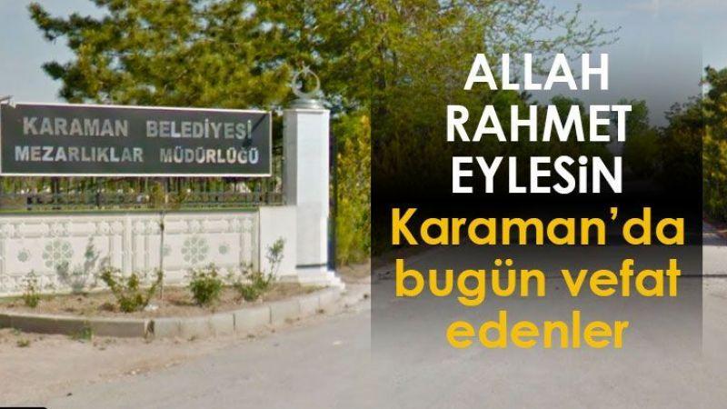 10 Eylül Karaman'da vefat edenler