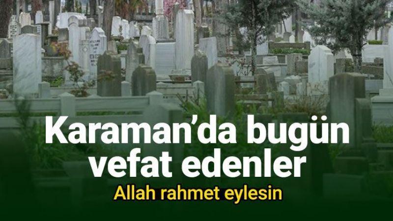13 Eylül Karaman'da vefat edenler