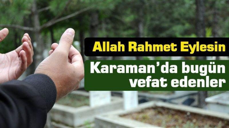 15 Eylül Karaman'da vefat edenler