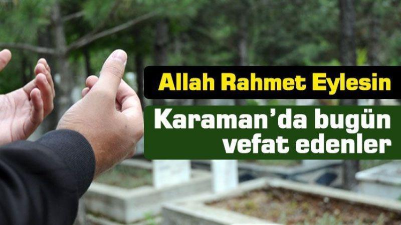 21 Eylül Karaman'da vefat edenler