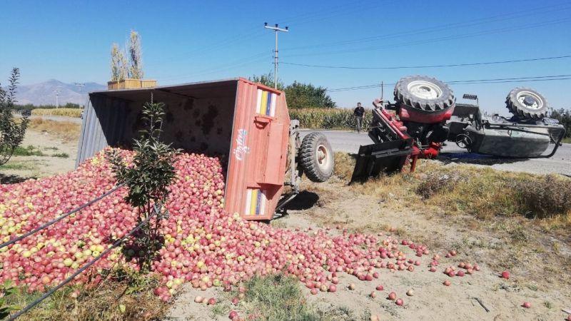Karaman'da elma yüklü traktör devrildi: 1 yaralı