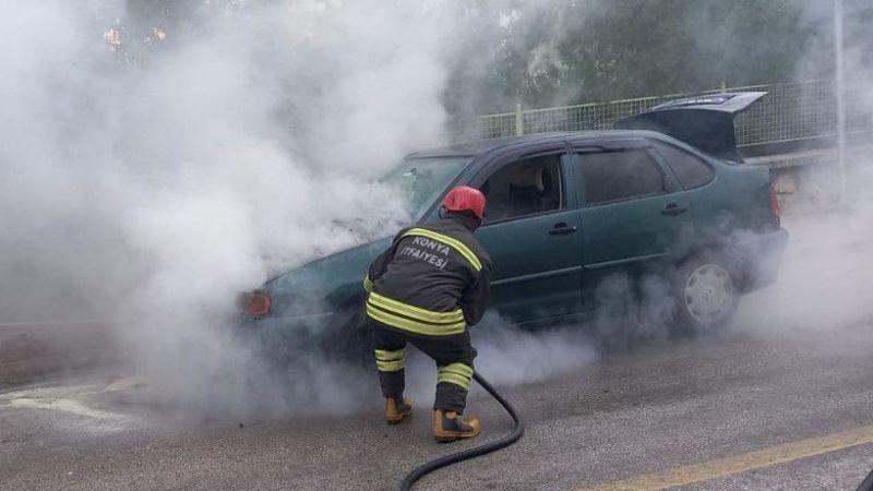 Ereğli'de seyir halindeki otomobil yandı