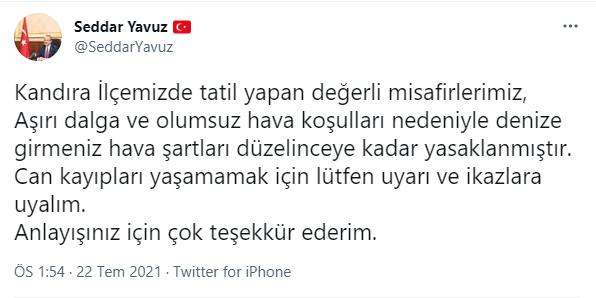 Vali Yavuz'dan Kandıra halkına uyarı