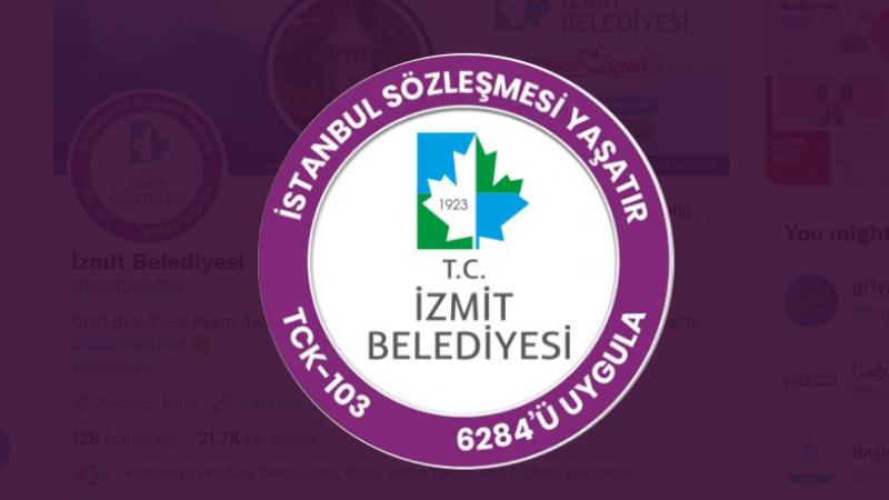 """İzmit Belediyesi'nden """"İstanbul Sözleşmesi"""" logosu"""