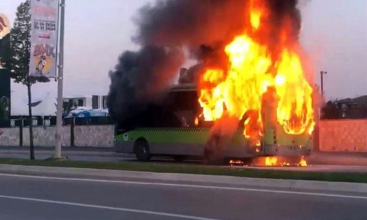 Büyük panik! Belediye otobüsü alev alev yandı!