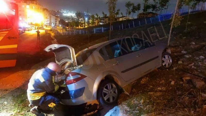 Şarampole uçan araçta 2 kişi yaralandı