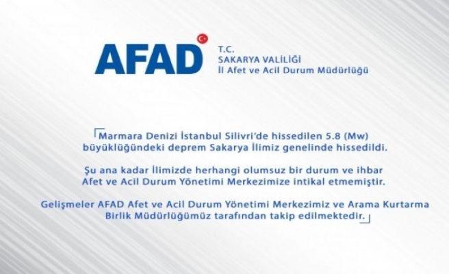 AFAD: 'Sakarya'da herhangi bir olumsuz durum yok'