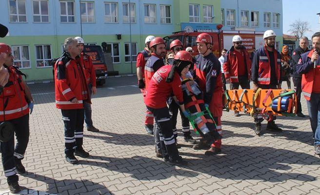 Hendek'te yangın tatbikatı heyecanı