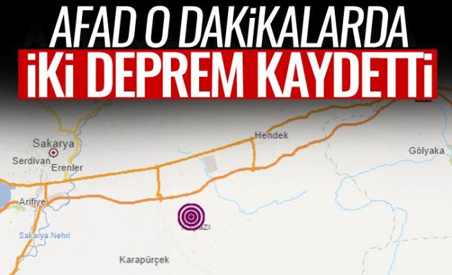 AFAD o dakikalarda Sakarya'dan 2 deprem kaydetti