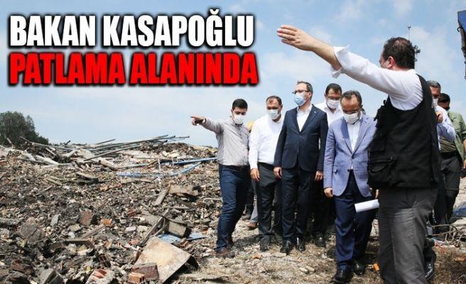 Bakan Kasapoğlu patlama alanını inceledi