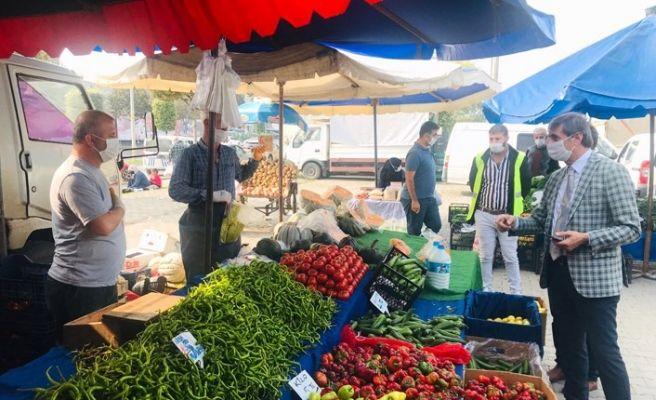 Alemdar pazar esnafını gezdi