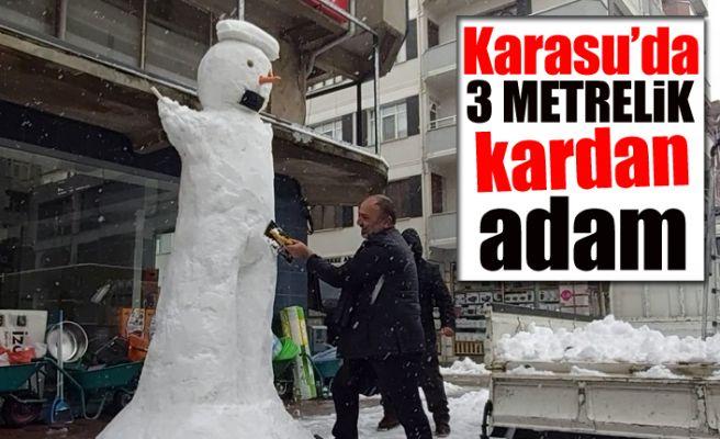 Karasu'da 3 metrelik kardan adam