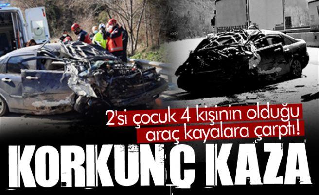 Korkunç kaza: Kayalara çarpıp kağıt gibi ezildi!