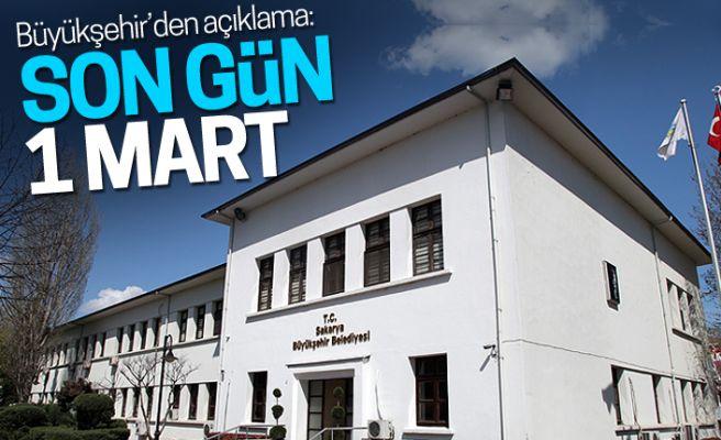 """Büyükşehir'den açıklama: """"Son gün 1 Mart"""""""