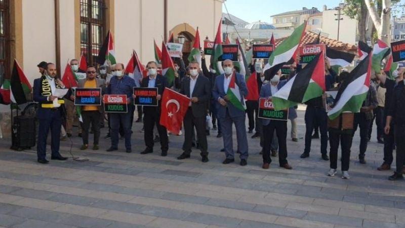 Orhan Cami önünde Mescid-i Aksa eylemi