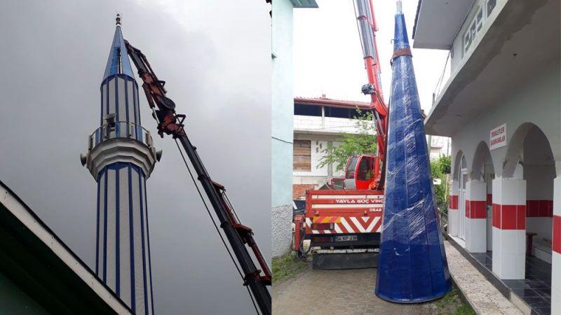 Şiddetli rüzgarda zarar gören minare onarıldı