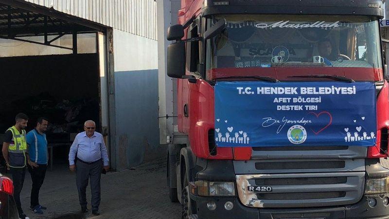 Hendek'ten afet bölgesine yardım