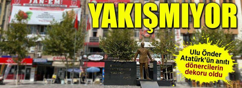 Atatürk anıtına ayıp devam ediyor!