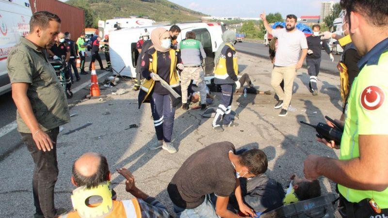İşçi servisi kaza yaptı: Çok sayıda yaralı var!